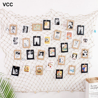 Home Net Photo Frame Wall Hanging display with 40 Clip By Fishing Net Wall Stickers Decor DIY Picture Frames Photos Wall