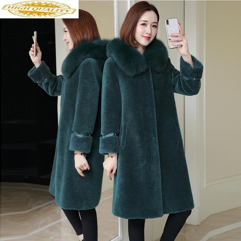 AYUSNUE Real Fur Coat Women Clothes 2020 Winter Wool Fur Jacket Hooded Fox Fur Long Womens Jackets And Coats Korean MZ919 J3709