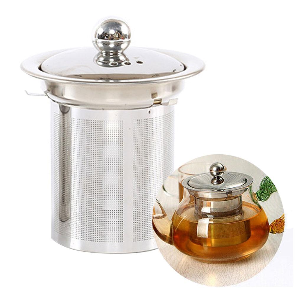 Tea Infuser With Lid Stainless Steel Teapot Kettle Loose Leaf Fine Mesh Strainer Tea Filter