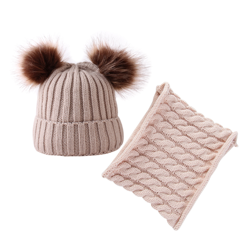 European And American-Style Hot Selling New Style Baby Double Ball Baby Hat/Scarf 2-Piece Set Childen'S Hat And Scarf