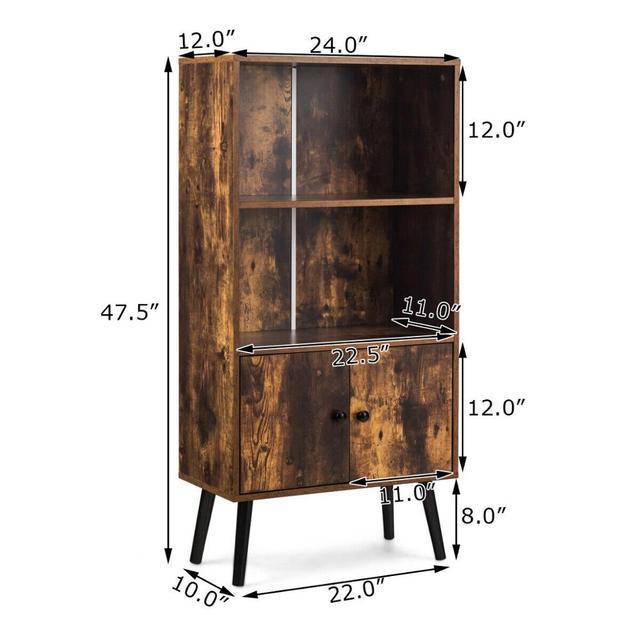 2-Tier Retro Bookcase Bookshelf w/3 Compartment 2