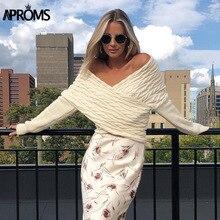 Knitted Sweater Soft-Jumper Aproms Cross-Over-Cropped Twist Off-Shoulder Pullover V-Neck