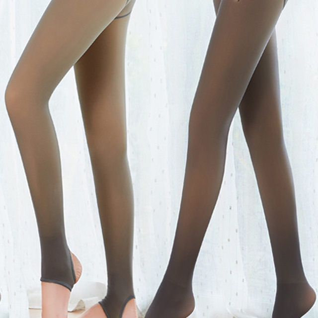 Leggings Women 2020 High Quality Legs Fake Translucent Warm Fleece Slim Stretchy For Winter Outdoor Women Ropa Mujer 3