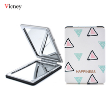 Vicney Simple New Mini Pocket Cosmetic Mirror Fashion Triangle Makeup Mirrors Compact Beauty Double-Sided MagnifierMirror