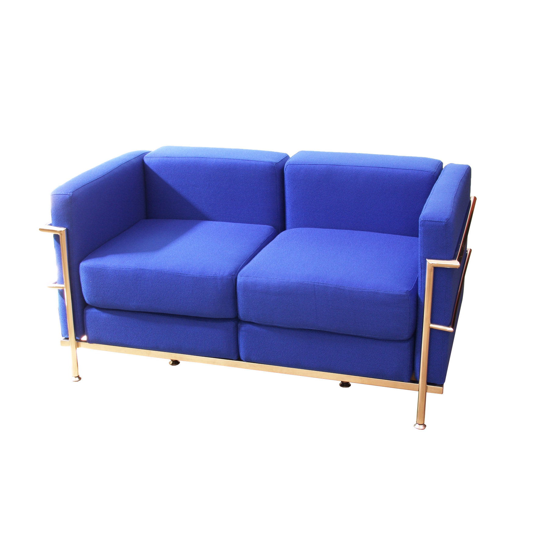 Sofa De Modulo/waiting Two Seater Upholstered In BALI Tissue Color Blue TAPHOLE AND CURLED Model Tarazona
