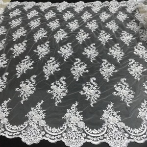 Image 2 - African Beaded Lace Fabric 2020 High Quality Lace Material White French Lace Fabric Nigerian Tulle Mesh Lace Fabrics K D2327