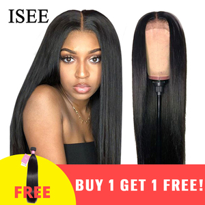 ISEE HAIR Straight Lace Front Wigs For Women Malaysian 150% Density 360 Lace Frontal Wig Straight Lace Front Human Hair Wigs(China)