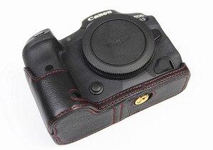 Image 4 - Retro Genuine leather Camera bag Protective Half Body case cover For Canon EOS R5 R6 digital cameras