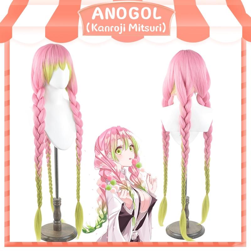 Anogol Brand New Demon Slayer Kanroji Mitsuri Synthetic Cosplay Wigs Kimetsu No Yaiba Long Pink Mix Green Braid Cosplay Wig
