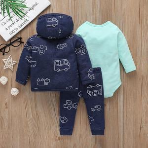 Image 2 - Zestaw ubranek dla chłopca jesień strój noworodka zima odzież dla niemowląt 2020 z długim rękawem z kapturem płaszcz + body + spodnie moda dla dzieci 6 24M