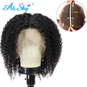 Image 3 - Siyah kadınlar için kısa kıvırcık peruk 13*6 Kinky kıvırcık dantel ön peruk brezilyalı Remy saç ön koparıp kısa kıvırcık Bob HD dantel peruk 180%