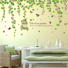Creative Flower Wisteria Birdcage Wall Sticker PVC Material Plant Theme Home Decor for Living Room Bedroom Decoration
