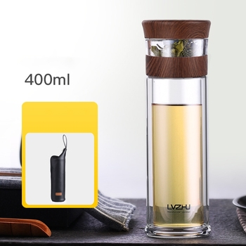 400ML Business Type Water Bottle Glass Bottle with Stainless Steel Tea Infuser Filter Double Wall Glass Sport Water Tumbler 35 4