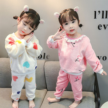Cute Baby Flannel Heart Pajamas For Girls Kids Casual Warm Sleepwear Set Toddler Cherry Pajamas Set With Long Sleeve Pyjamas Set toddler kids pajamas long sleeve red set baby boys girls striped outfits christmas baby sleepwear set