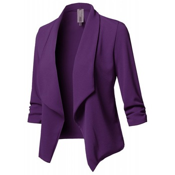 Women's Coat Autumn Jacket Slim-Fit Long-Sleeved Pleated Solid Color All-match Office Lady Jacket All-match Small Suit Jacket