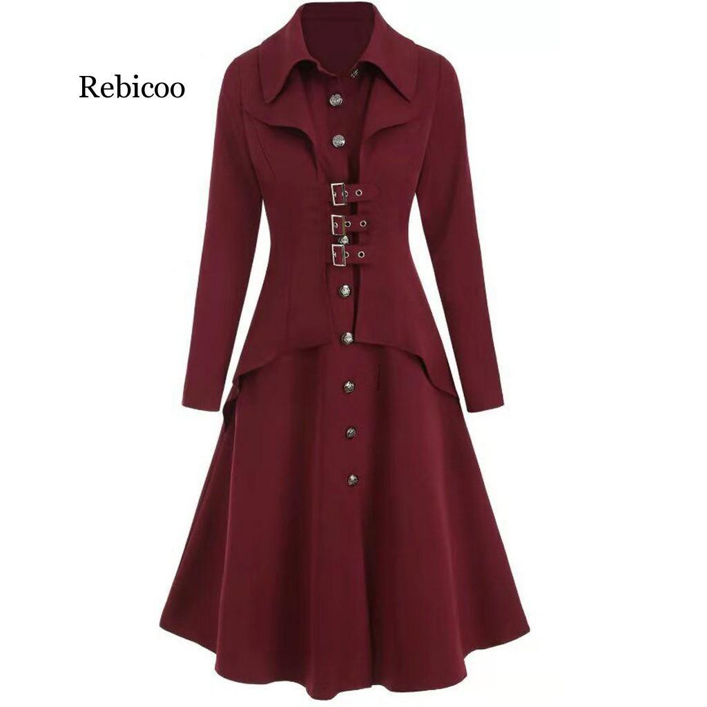 Autumn Winter Women Goth Swallowtail Blend Wool Long Black Trench Dress Coats Slim Blazer Dress Gothic Plus Size Outwear