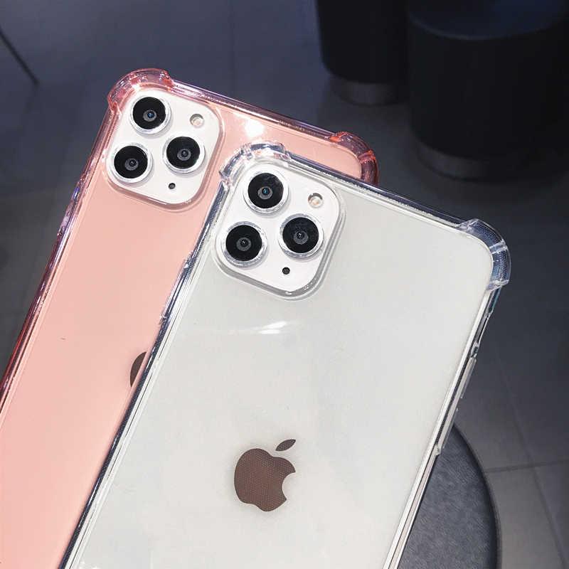 עבור iPhone 11 פרו X XR XS מקסימום 6S 7 8 בתוספת טלפון מקרה צבעים בוהקים עמיד הלם פגוש שקוף רך TPU עבור iPhone 11 SE 2020 12