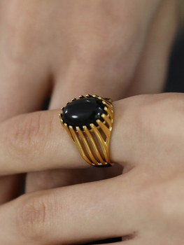 18 K Gold Natural Black Agate Rings Jewelry K-Gold Jewelry