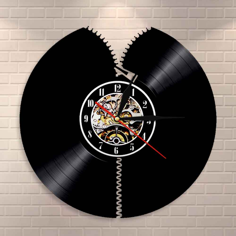 Unzip Wall Clock Zipper Vinyl Record Wall Art Abstract Modern Sewing Room Wall Decor Vintage Album Record Wall Clock Tailor Gift