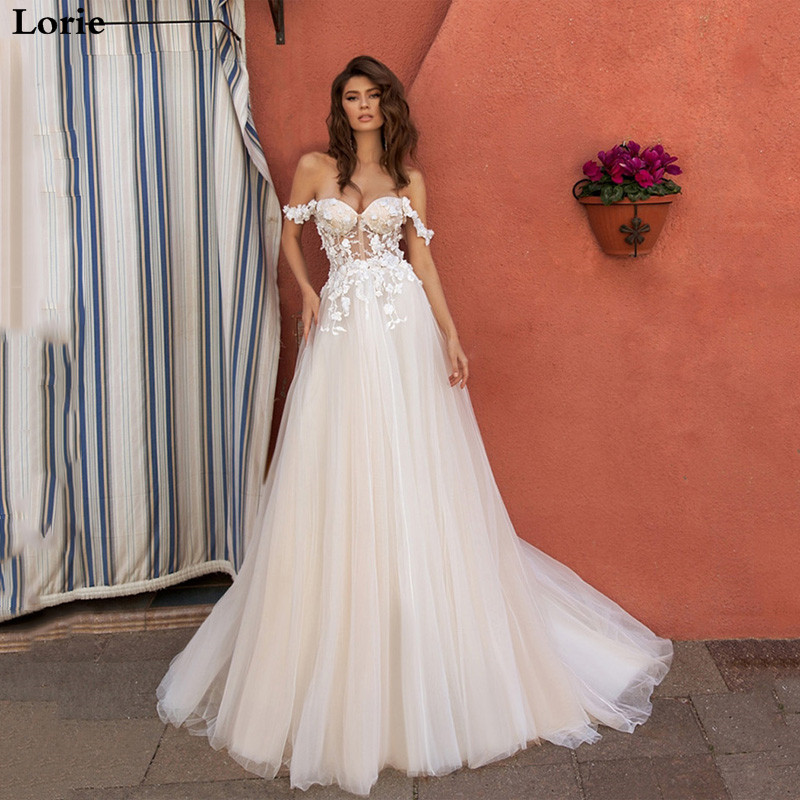 Eightal Boho Wedding Dress Beach Sweetheart Off The Shoulder Princess Wedding Gowns Appliques Lace Tulle Elegant Bridal Dress
