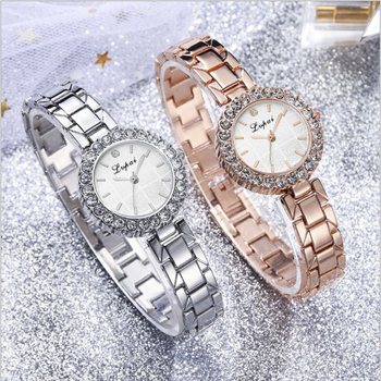 Quartz Watch Dress Rhinestone Women's Watches Stainless Steel Strap Ore Glass Business Clock Ladies Bracelet Alloy Wrist Watch