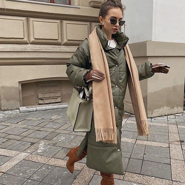 AGong-vestes en coton PU femme, longues et élégantes, parka kaki à la mode hiver HZ, décontracté 3