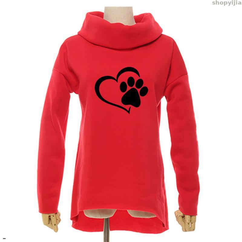 Baru Wanita Hoodie Syal Kerah Jantung Kucing atau Anjing Pat Cetak Pola Pakaian Kasual Kaus Pullover untuk Fashion Wanita