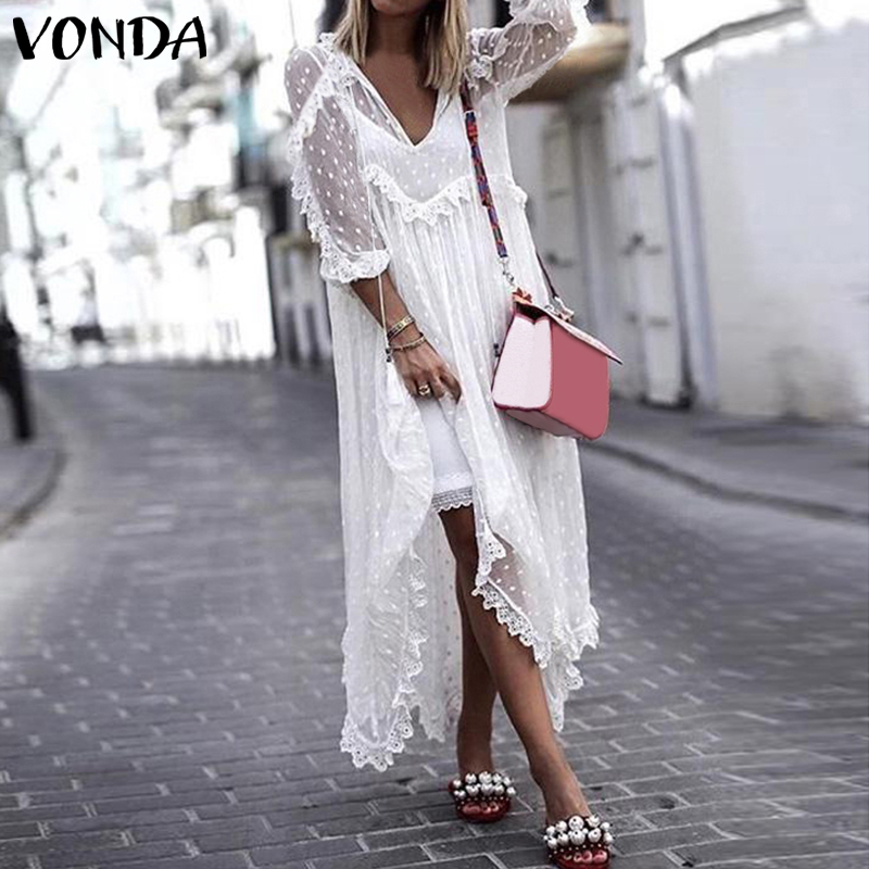 VONDA Plus Size White Lace Dress 2019 WomenSundress Holiday Summer Dress Sexy V-Neck Dot Hollow Asymmetrical Hem Beach Vestidos