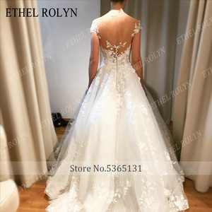 Image 5 - ETHEL ROLYN A Line ชุดแต่งงาน 2020 ปิดไหล่ Backless ลูกไม้โรแมนติก Appliques Beach Boho ชุดเจ้าสาว Vestido De Noiva