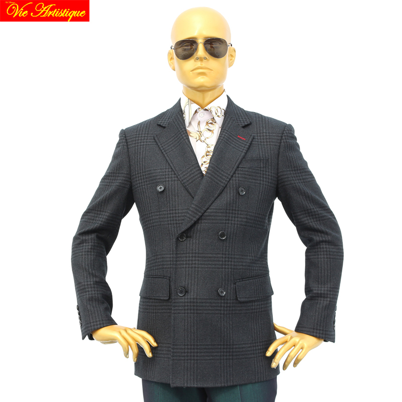 Custom Tailor Made Men's Bespoke Suits Business Formal Wedding Ware Bespoke 2 Piece (Jacket+Pants) Grey Whales Plaid Heavy Wool