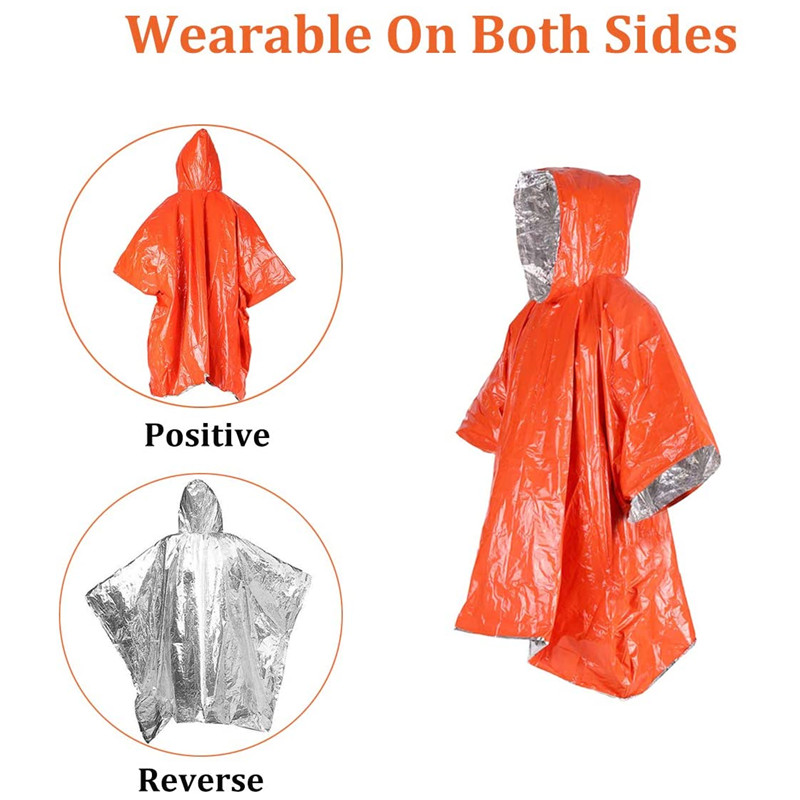 Emergency Blanket Poncho Survival Gear and Equipment Outdoor Activity Camping and Hiking Gear Thermal Mylar Space Rain Ponchos