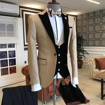 2020 Custom Made 3-Piece Beige Smoking Blazer Casual Business Gentlemen Groom Suits Prom Suits For Men Wedding Best Man Tuxedo