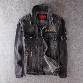 European American Fashion Men Jackets Retro Wash Black Gray Destroyed Ripped Denim Jackets Men Streetwear Hip Hop Jackets Hombre bleach wash extreme destroyed denim jacket