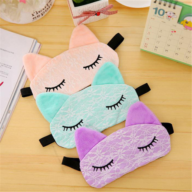 Cute Cartoon Eye Mask Lace 2020 New Korean Kawaii Travel Shading Sleep Eye Mask Small Fresh Exquisite Comfortable Blindfold 1