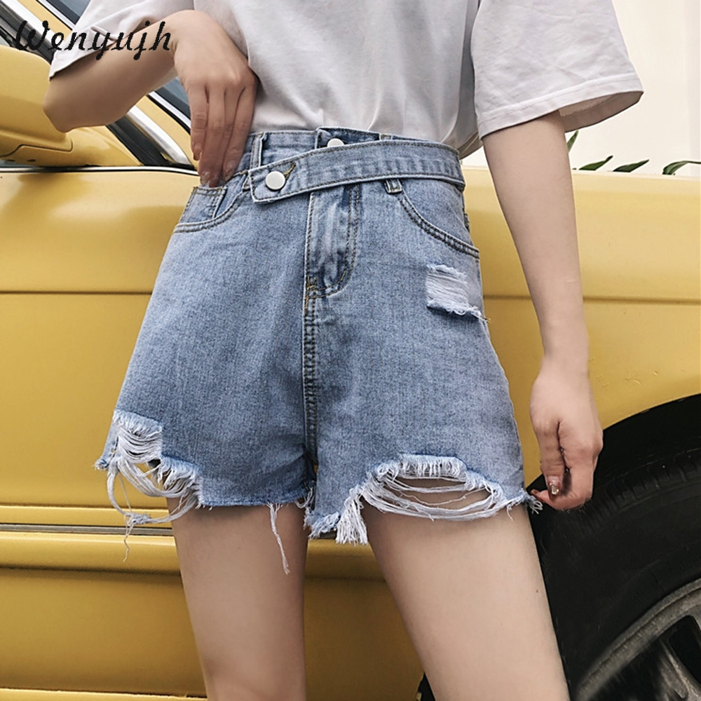 WENYUJH High Waist White Denim Shorts Women Short Femme Denim Wide Leg Elastic Waist Vintage Jeans Shorts Loose Women Summer