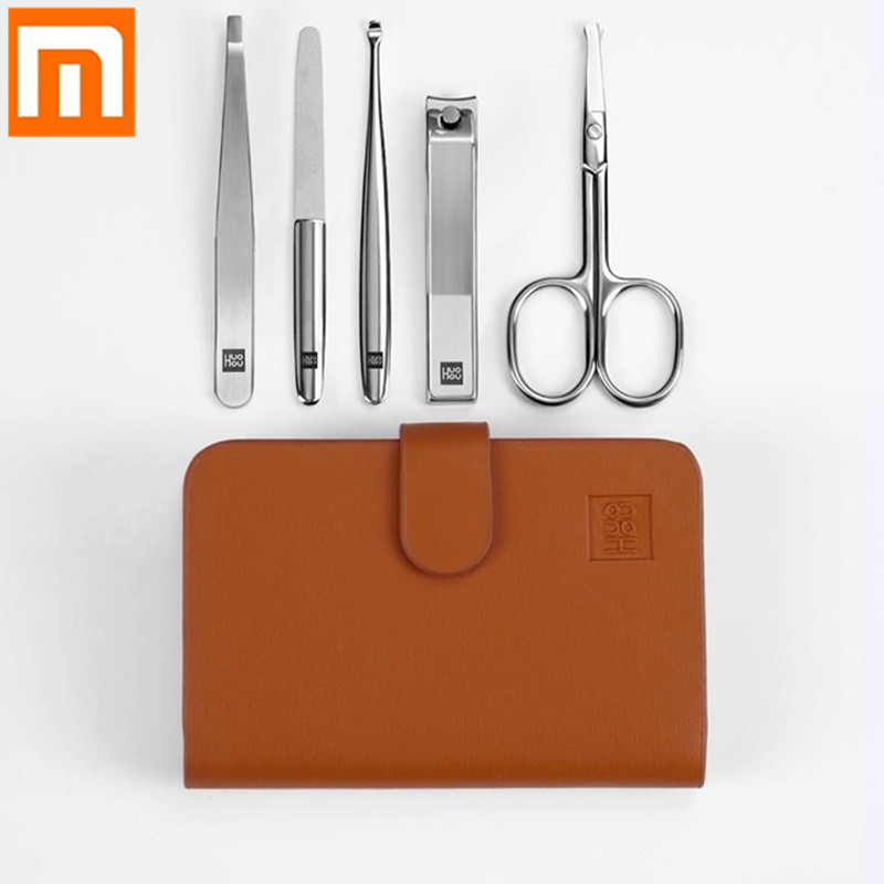 Hot Xiaomi Mijia Huohou Nail Clipper Stainless Nose Hair Trimmer Portable Travel Hygiene Kit Nail Cutter Tool Sets