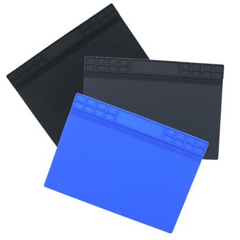 Podkładka izolacyjna silikonowa podkład na biurko platforma konserwacyjna na stacja lutownicza BGA naprawa narzędzi szary czarny ciemny niebieski tanie i dobre opinie Heat Insulation Pad 350*250 mm 13 78*9 84 Inch Repair insulation pad Support Dark Blue Gray Black About 250g Soldering Station Repair