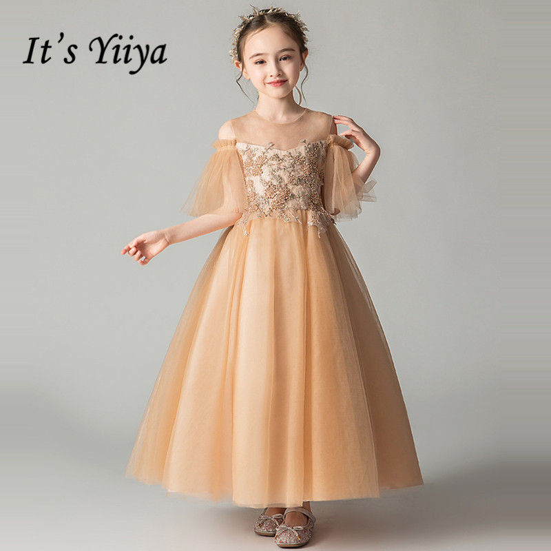 O-Neck Communion Dresses It's Yiiya B001 Ball Gown  Half Sleeve Ankle-Length Appliques Solid Zipper Kids Dresses For Girls