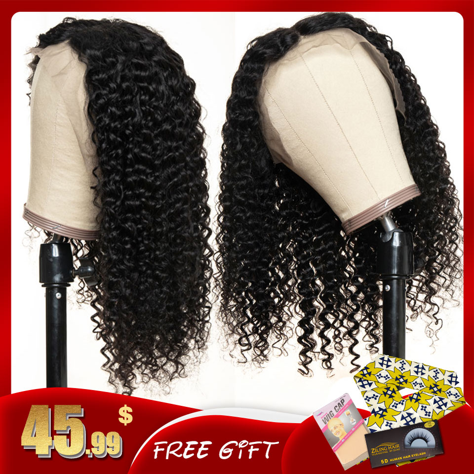 Curly Human Hair Wigs Pre Plucked Remy 13x4 Lace 8 - 22