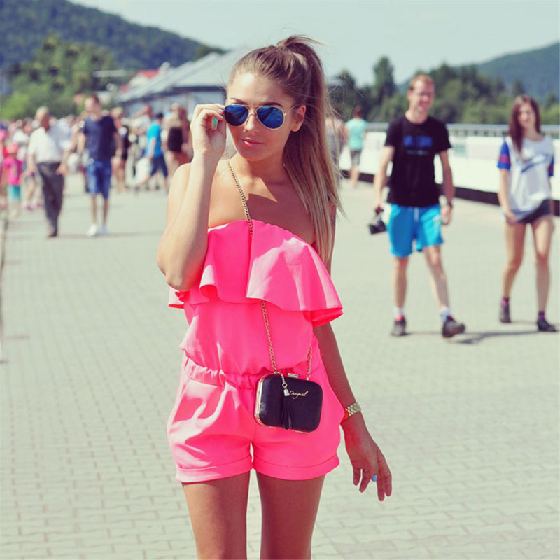2020 Spring And Summer New Fashion Women's Off-the-shoulder Jumpsuit Sexy Slim Strapless Ruffled Jumpsuit Large Size