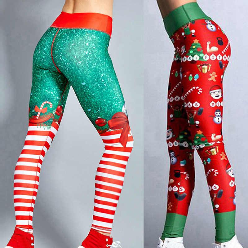 Christmas Leggings Women Sexy High Waist Skinny Leggins Fitness Legging  Ladies Printed Workout Leggings Stretch Trousers Pants Leggings  -  AliExpress