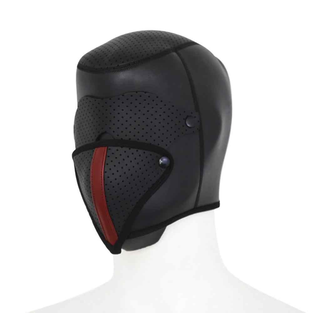 Całkowicie zamknięta głowa psa BDSM maska odpinana maska na oczy pokrowiec na główkę fetysz niewolnik Bondage ograniczenia zabawki erotyczne dla kobiet pary