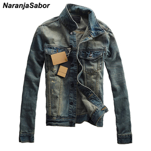 NaranjaSabor Autumn Spring New Men Denim Jacket Casual Slim Fit Solid Color Outerwear Fashion Male Jean Coat Brand Clothing N551