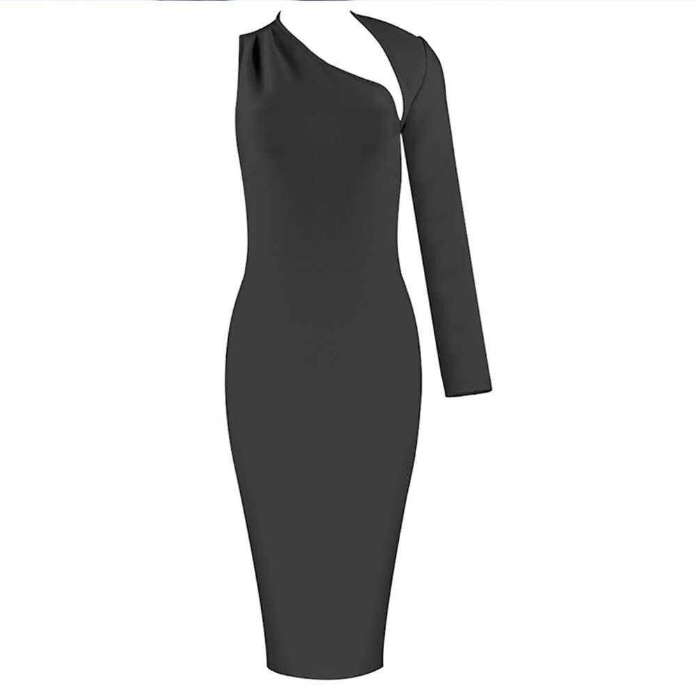 Jeleń Lady bandaża sukni 2020 zima kobiety jeden opaska na ramię sukienka wyciąć Sexy Bodycon suknie wieczorowe w stylu gwiazd klub