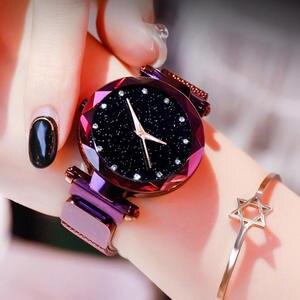 Diamond Watches Magnetic Buckle Mesh-Band Quartz Rose-Gold Women Luxury Damsk Zegarek
