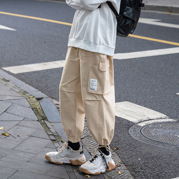 Spodnie robocze męskie spodnie luźne spodnie sportowe spodnie z prostymi nogawkami spodnie z wiązaniem ołówkowe spodnie męskie Plus Size męskie tanie i dobre opinie AOWOFS Cargo pants Cielę długości spodnie Mieszkanie REGULAR COTTON Poliester Octan Lekki Suknem High Street Sznurek