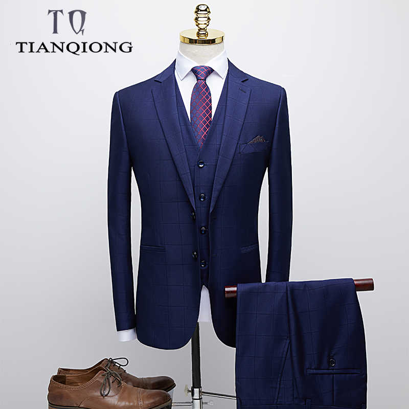 TIAN QIONG Blue Plaid Suit Men Luxury Brand Slim Fit Mens Suits with Pants Brand Groom Wedding Suit Man Business Formal Wear