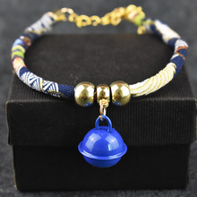Cute Pet Dog Cat Collar Chinese Style Design Small Dog Collar with Bell Adjustable Chain Cat Collar For Pet Supplies