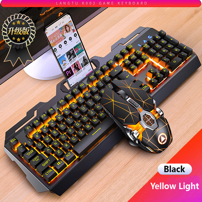 Color : Black Silver Rainbow Backlight Metal Mechanical Feel Gaming Keyboard Wired Desktop Laptop External USB Home Office Mute Backlight