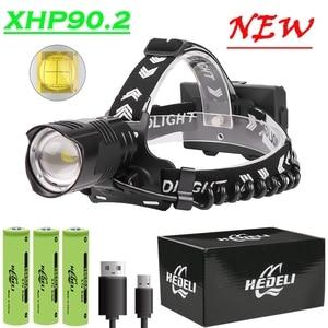Супер XHP90.2 светодиодные фары XHP90 Высокая мощность головная лампа XHP70 светодиодные фары USB 18650 перезаряжаемый Головной фонарь CREE LED XHP50
